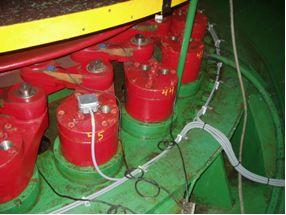 Cavitation sensors are installed in robust protection boxes on 6 or 8 guide-vane shafts or links.